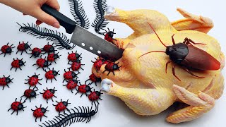 STOP MOTION COOKING - Asmr Mukbang BBQ Chicken From Monster Bugs IRL 4K | Cuckoo