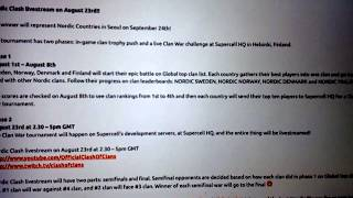 Clash of Clans - Nordic Clash Livestream - August 23rd 2.30 - 5pm GMT