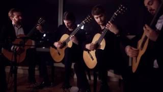 LIVE - Mēla guitar quartet play Organ Fugue by J.S. Bach BWV 578