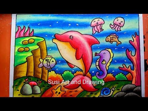 Cara Menggambar Dan Mewarnai Pemandangan Alam Bawah Laut Dengan Gradasi Drawing Scenery Youtube