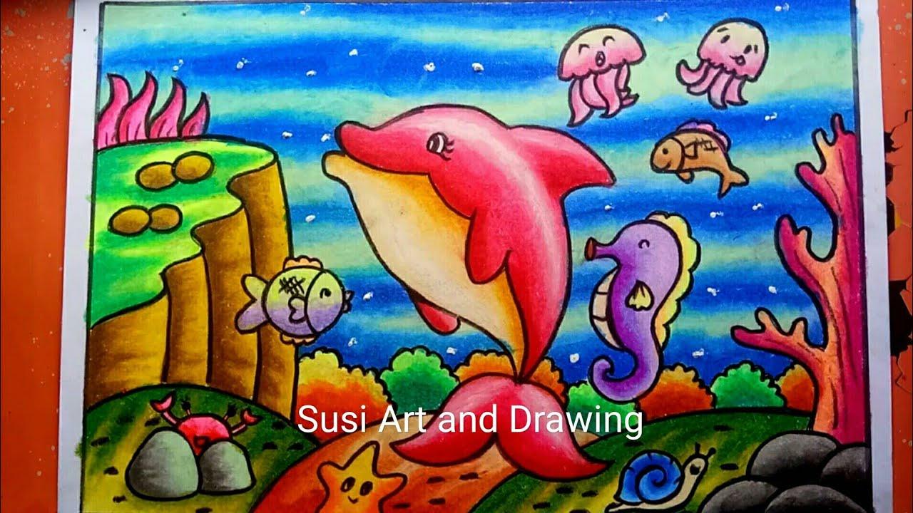 Cara Menggambar Dan Mewarnai Pemandangan Alam Bawah Laut Dengan Gradasi