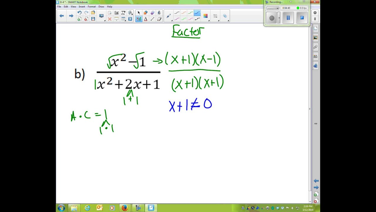 Algebra 2 Lesson 8 4 Simplifying Rational Expressions
