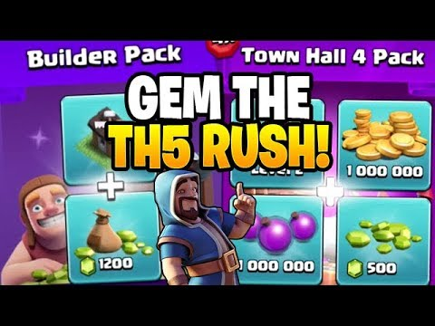 TIME TO GEM THAT RUSHED TH5! - Clash Of Clans