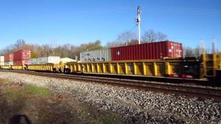 Canadian National passenger cars and intermodal containers in well cars