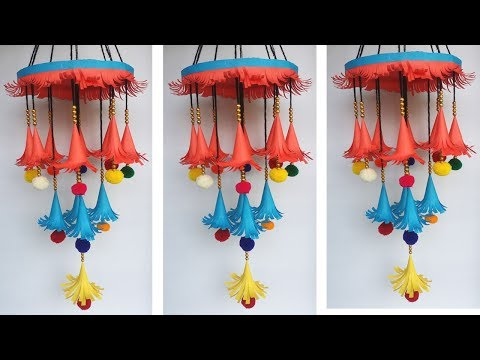 DIY: Paper & Woolen Crafts!! How to Make Beautiful Ceiling Hanging/Jhumar for Room/Home Decoration!!