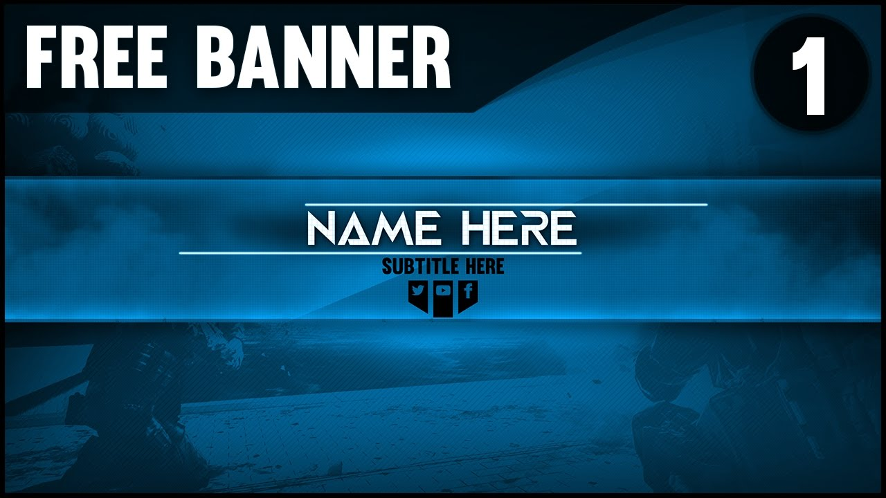 Free Gaming Youtube Banner Template 1 Professional Look Colour Customisation Youtube