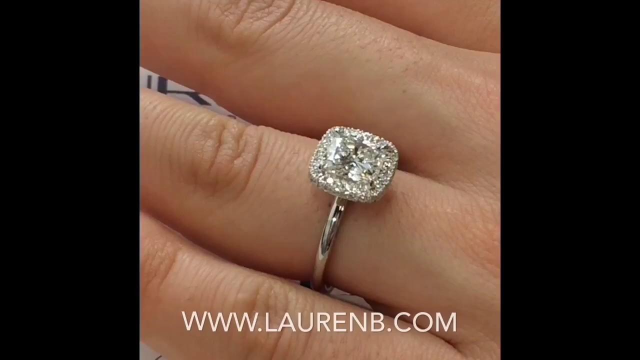 1 54 Ct Cushion Cut Diamond Engagement Ring
