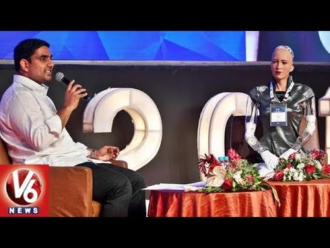 Humanoid Robot Sophia Mind Blowing Answers To Minister Nara Lokesh Questions | Visakhapatnam | V6