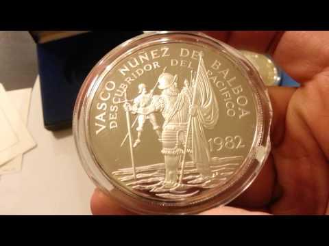Panama Silver 20 Balboas Proof Coins 1974 20 Balboas .925 Silver + 1982 20 Balboas .500 Silver