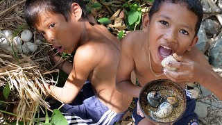 Tow Brother Cooking Duck Egg In Forest And Eating