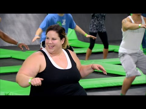 Watch Whitney And Buddy Spring Into Action At A Trampoline Workout Session