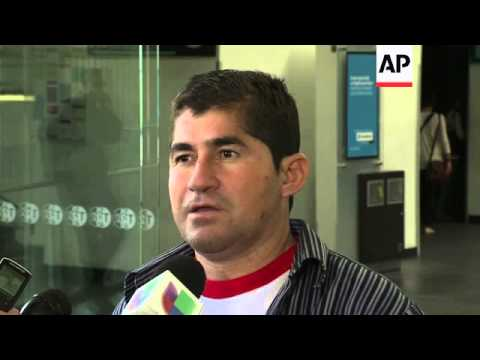 The Salvadoran fisherman who says he drifted at sea for over a year arrived in Mexico on Friday to v