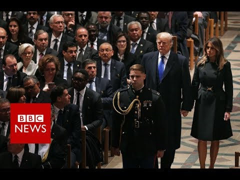 George HW Bush Funeral: President Trump Arrives at the National Cathedral - BBC News