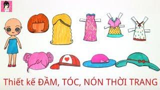 Nhà búp bê giấy #5 Thiết kế váy đầm, kiểu tóc, mũ nón thời trang cho búp bê/  Ami DIY