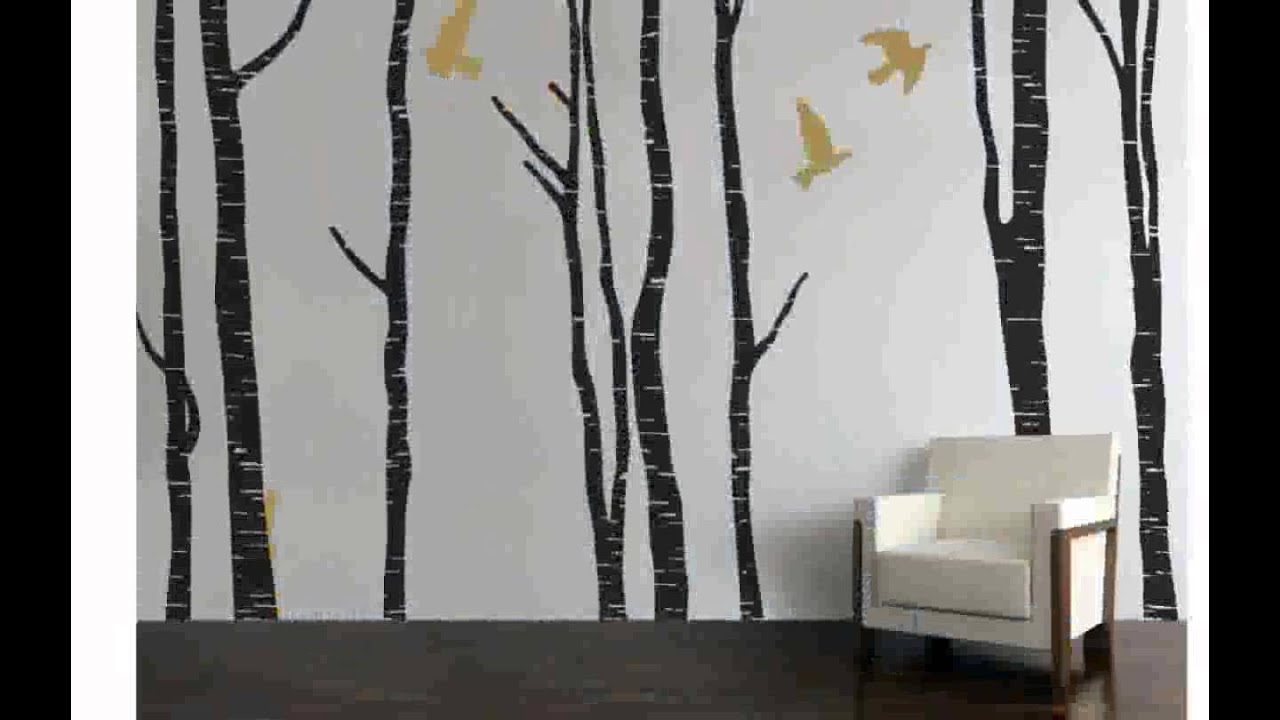 Birch tree wall decals chocaric youtube for Birch tree wall mural