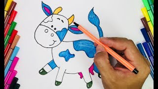 Real Hands Drawing | Draw and color a COW for kids learn how to draw