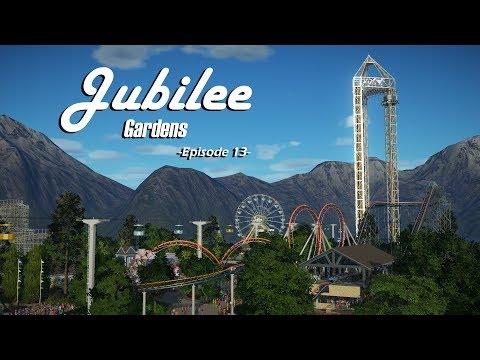 Planet Coaster: Jubilee Gardens [Ep. 13] - Steel Corkscrew Coaster, Custom Drop tower, & Food Shops