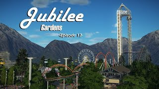 Planet Coaster: Jubilee Gardens [Ep. 13] - Steel Corkscrew Coaster, Custom Drop tower, & Food Shops