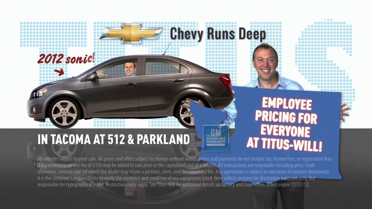 Titus Will Chevrolet Tacoma Brothers Employee Pricing