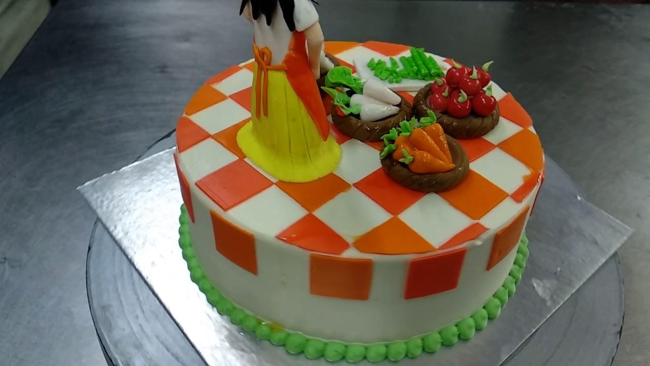 Kitchen Girl Chef Theme Cake Youtube