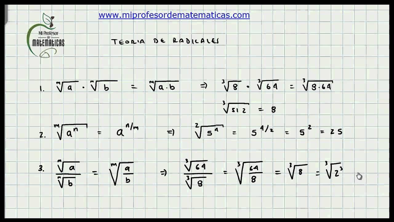 Teoria de Radicales - Propiedades - Álgebra - Mi Profesor de ...