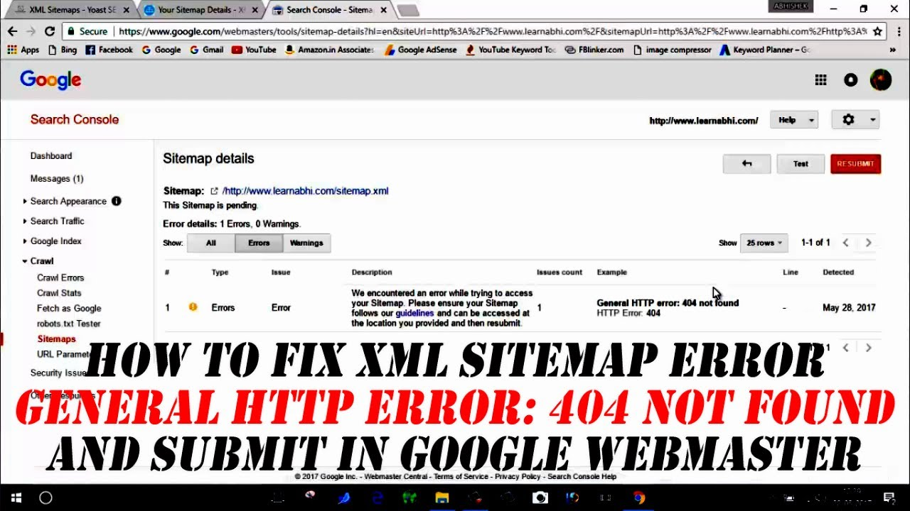how to fix xml sitemap error and submit in google webmaster youtube