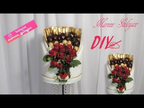 Супер оформление конфет с розами на любой праздник на свадьбу обручения ✔ Marine DIY Guloyan✔