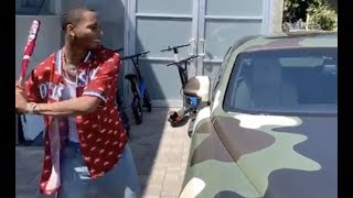 Key Glock Smashes Young Dolph Rolls Royce Windows For Not Releasing Album