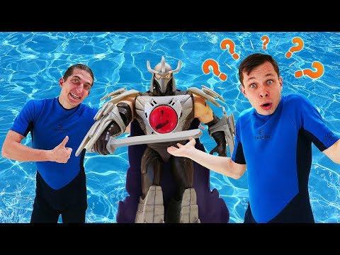 Видео с игрушками – Акватим и Шредер друзья? - Игры для детей в аквапарке.