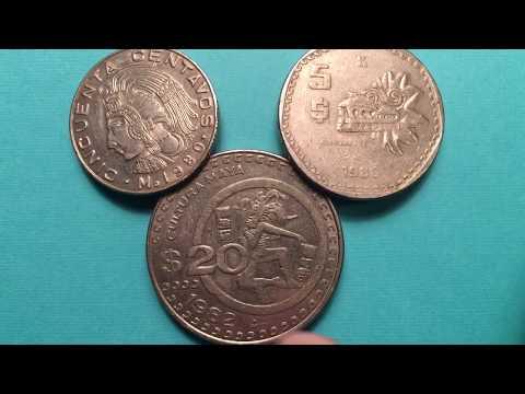 Value Of Mexico Coins 1980 - 1982  50 Centavos 5 Pesos 20 Pesos Mayan Art Coins