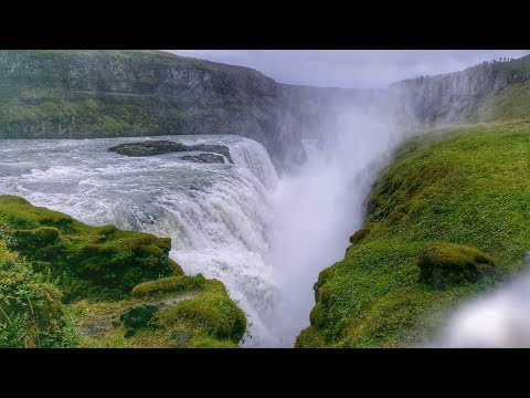 Iceland Gullfoss waterfall in Action (Travel Video)