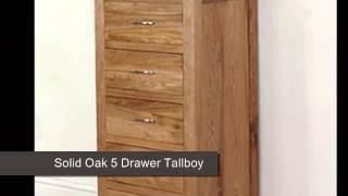 Boston Solid Oak 5 Drawer Tallboy