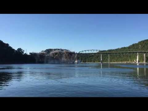 Sligo Bridge Demolition over Center Hill Lake near Smithville, TN. (Blast 1)