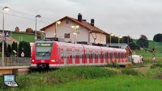 Peiß mit ET 423 Zügen beider Bauserien der Münchner S-Bahn am Abend