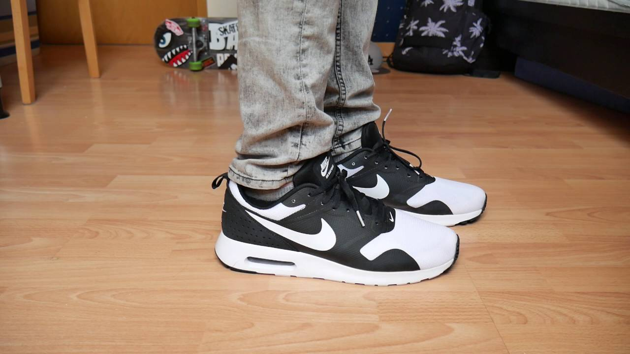 newest collection 21703 daad3 Nike Air Max Tavas BLACK WHITE - On Feet - YouTube