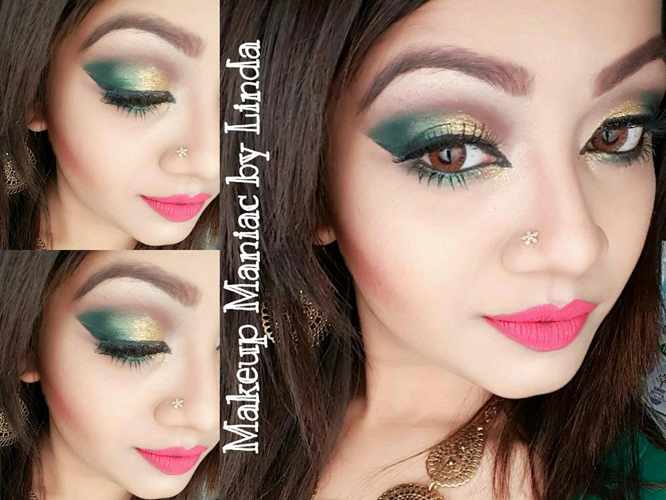 Glamourous Golden Green Party Makeup Tutorial Makeup Maniac By