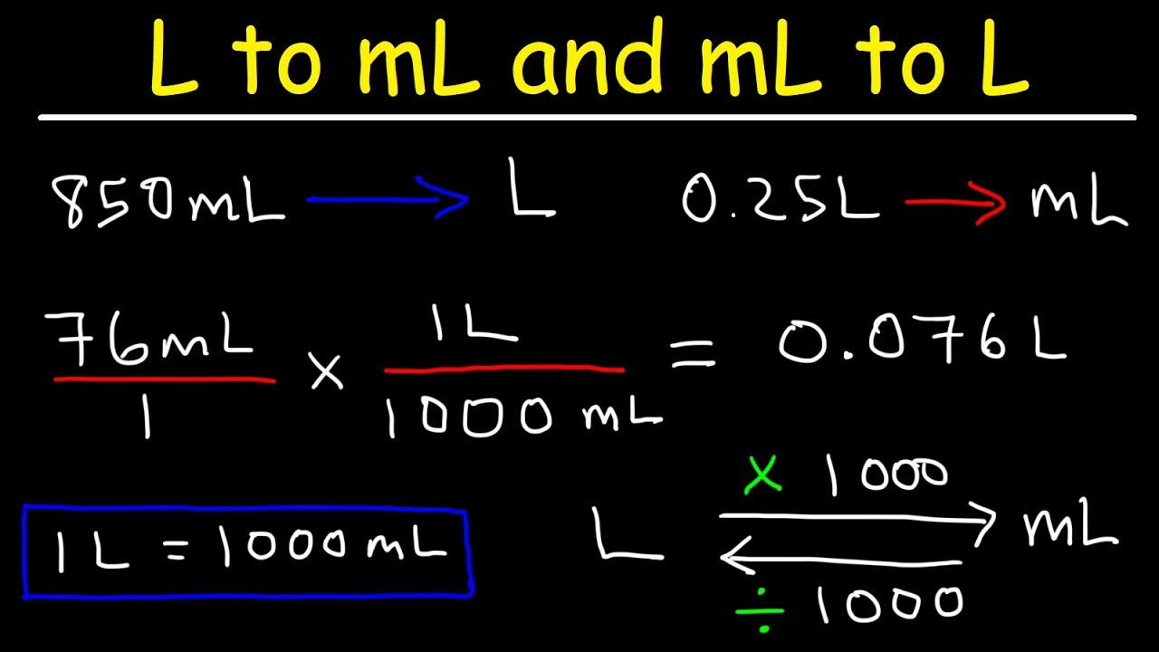 How To Convert From Milliliters To Liters And Liters To Milliliters Ml To L And L To Ml Youtube