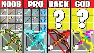 Minecraft Battle: ABILITY BOW CRAFTING CHALLENGE - NOOB vs PRO vs HACKER vs GOD ~ Animation