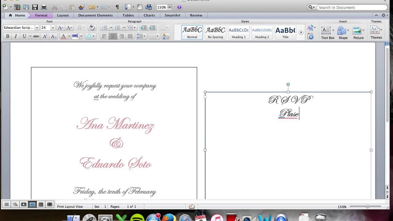 diy wedding invitation inserts youtube