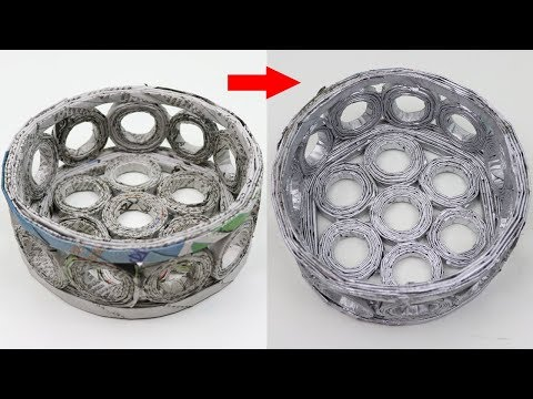 How to Make Paper Basket with Newspaper - DIY Newspaper Basket Craft - Easy Newspaper Crafts