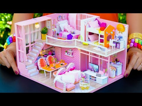 5 DIY Miniature Doll House Rooms Girly