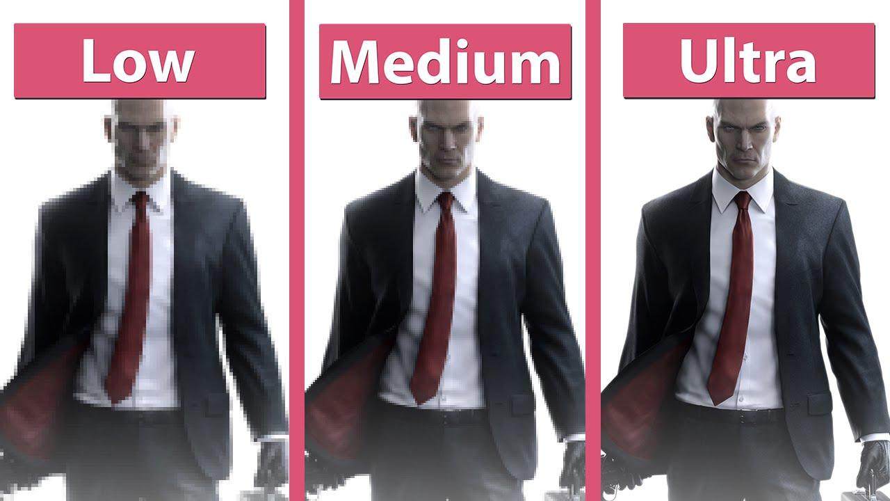 hitman 2016 beta pc low vs medium vs ultra detailed graphics