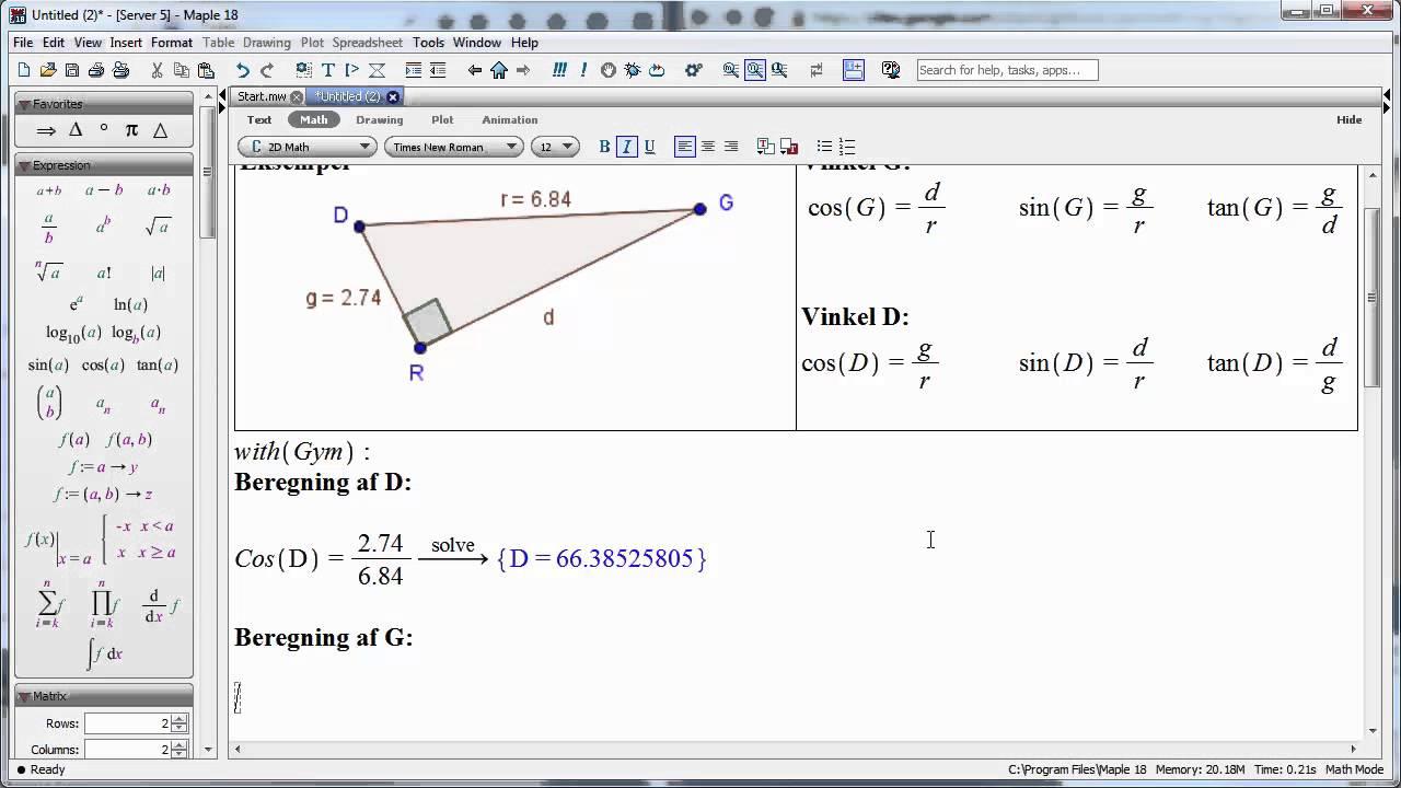 Maple 18 - Sådan beregnes en vinkel i en retvinklet trekant med to kendte sider