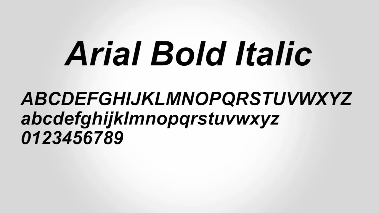 Arial Bold Italic Font