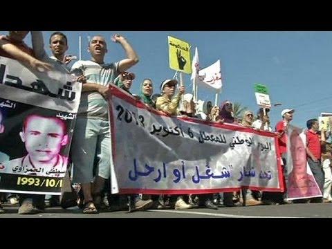 Arbeitslose Marokkaner fordern Jobs