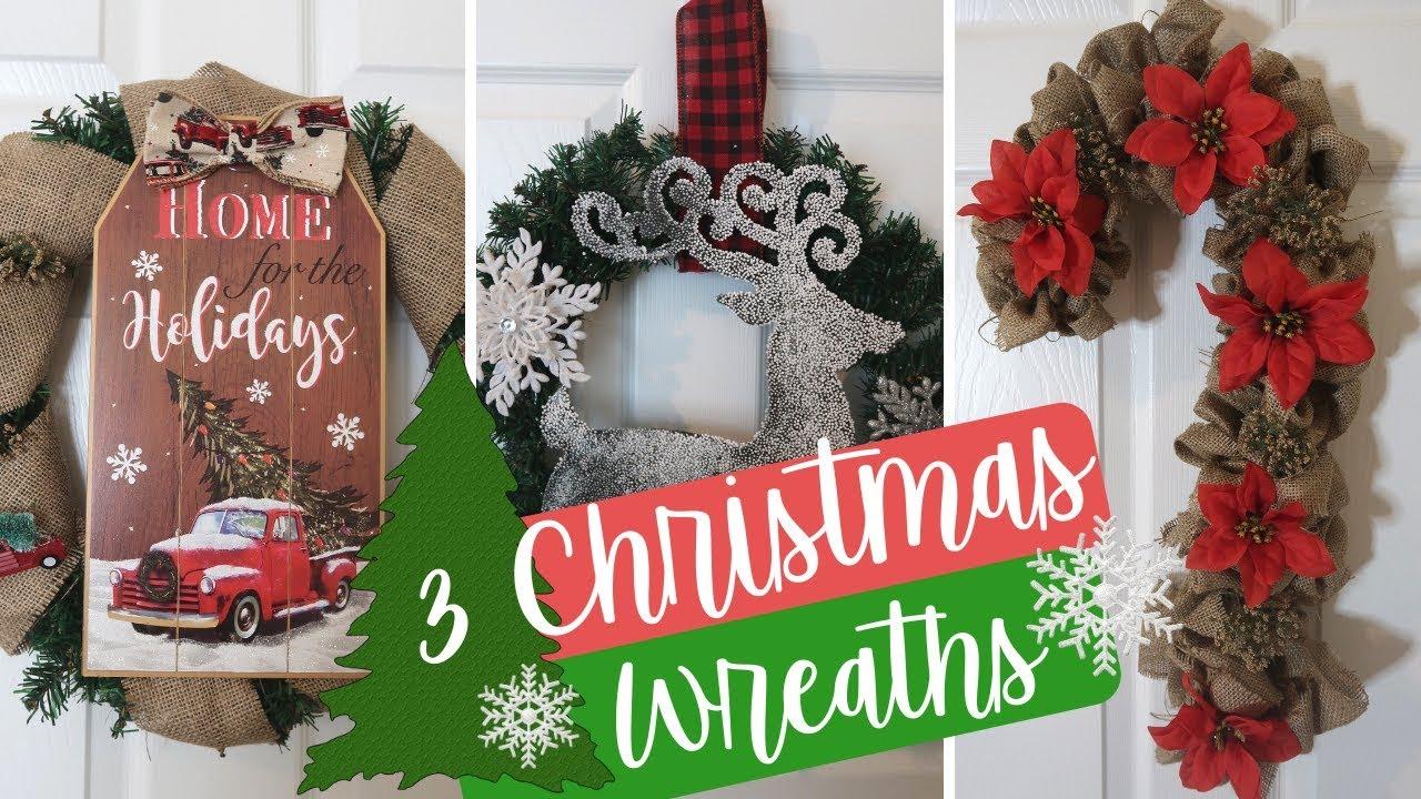 Diy Dollar Tree Christmas Farmhouse Decor 3 Christmas Wreaths Rustic Decor Christmas 2018 Youtube