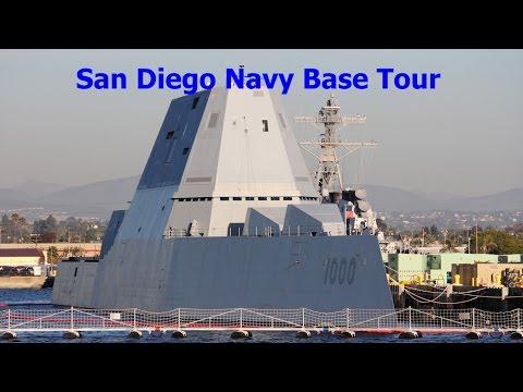 San Diego Navy base tour cruise, including USS Zumwalt.