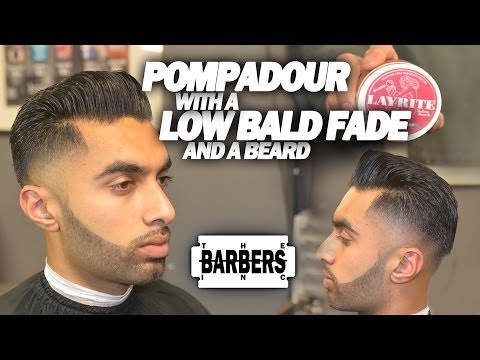 HOW TO: Pompadour w/ Low Taper Bald Fade & Beard | Men's Haircut Tutorial | HD - 1080