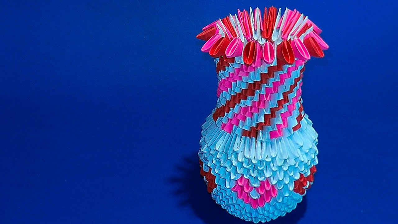 3D origami a vase for flower of paper tutorial - YouTube - photo#43