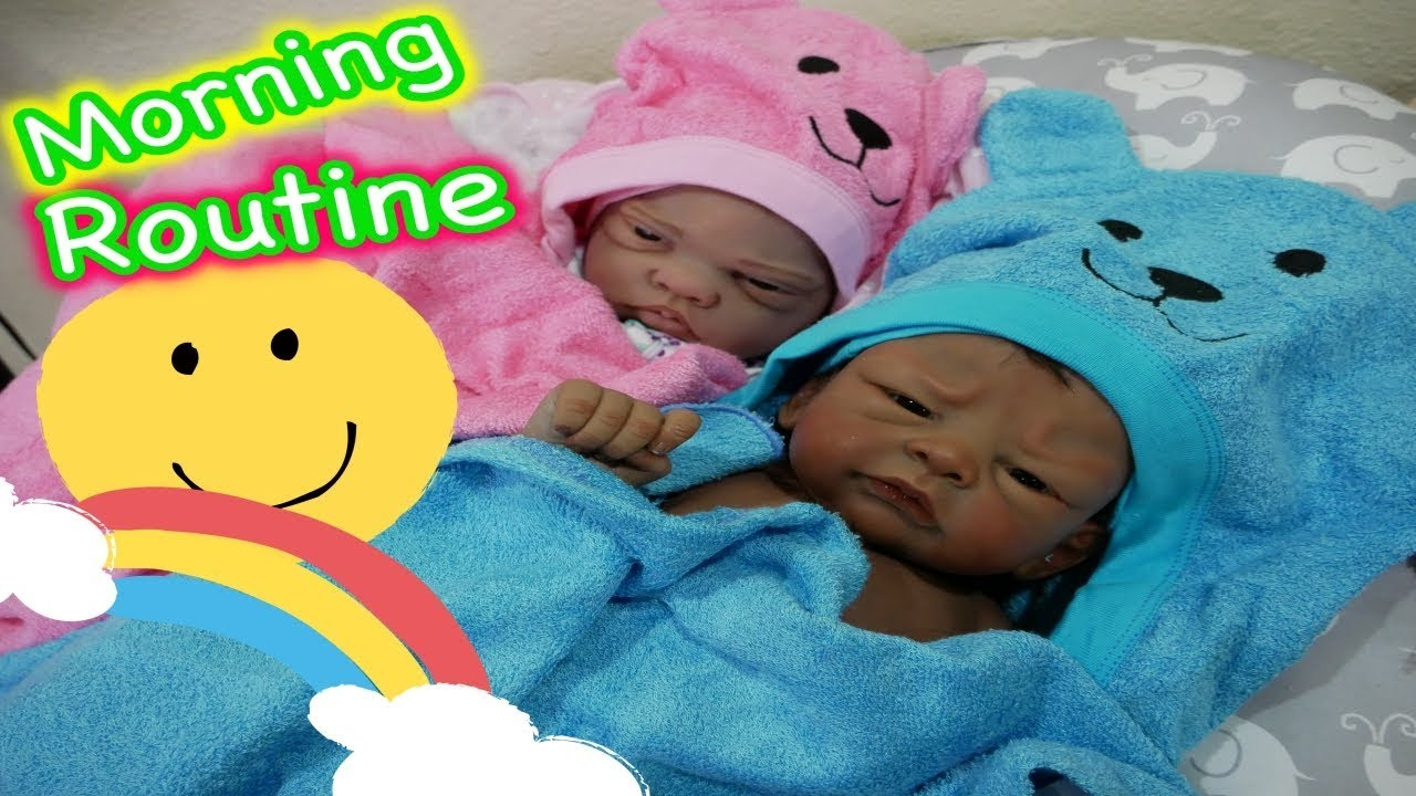 Silicone Baby Dolls Morning Routine Of 2 Babies Winter